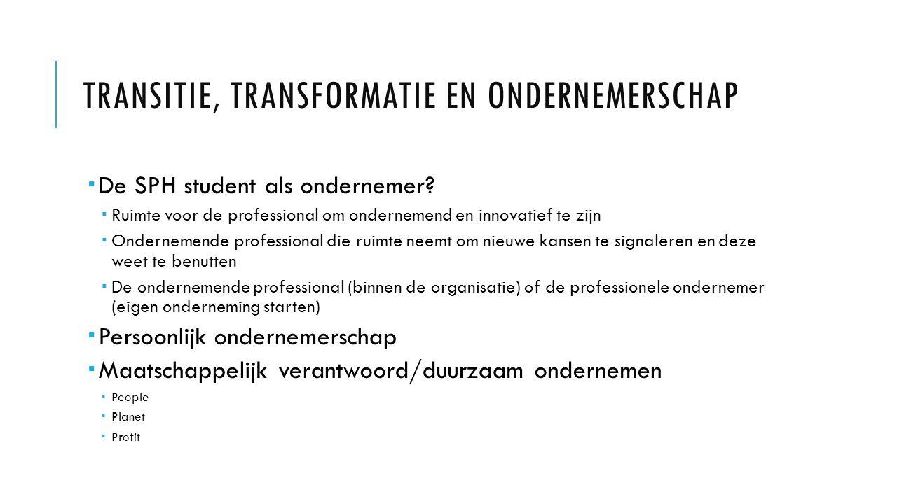 TRANSITIE, TRANSFORMATIE EN ONDERNEMERSCHAP  De SPH student als ondernemer.