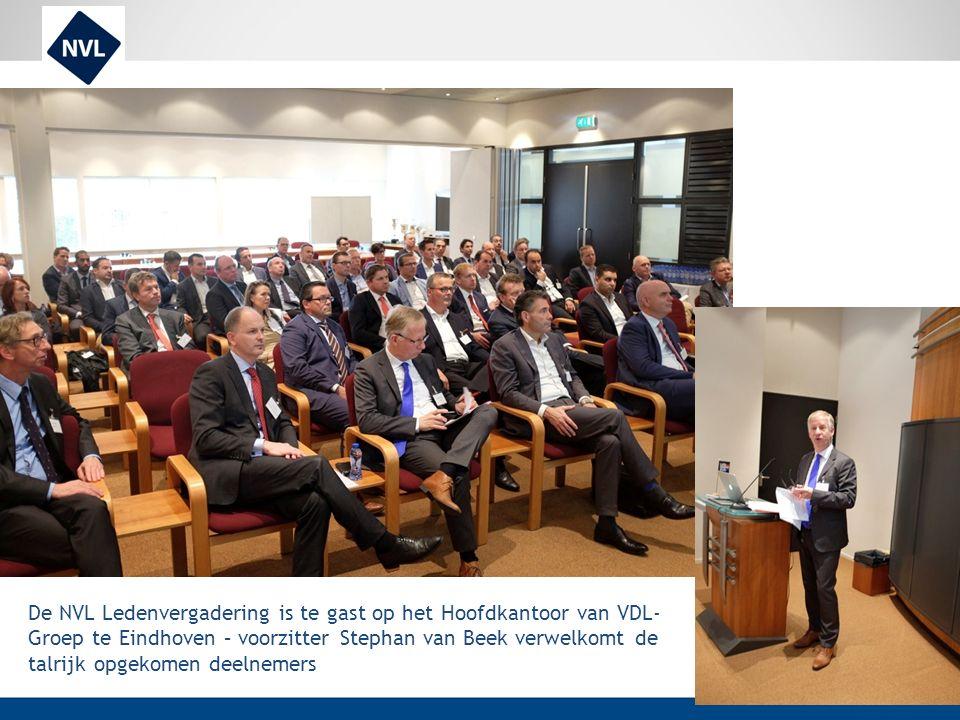 De NVL Ledenvergadering is te gast op het Hoofdkantoor van VDL- Groep te Eindhoven – voorzitter Stephan van Beek verwelkomt de talrijk opgekomen deeln