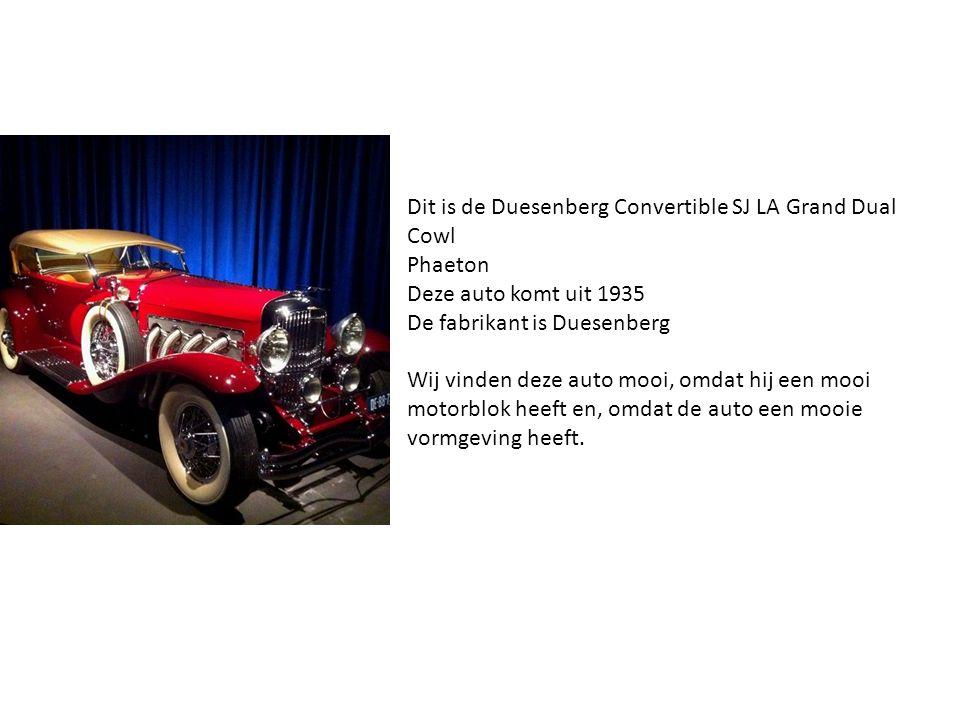 Dit is de Duesenberg Convertible SJ LA Grand Dual Cowl Phaeton Deze auto komt uit 1935 De fabrikant is Duesenberg Wij vinden deze auto mooi, omdat hij een mooi motorblok heeft en, omdat de auto een mooie vormgeving heeft.