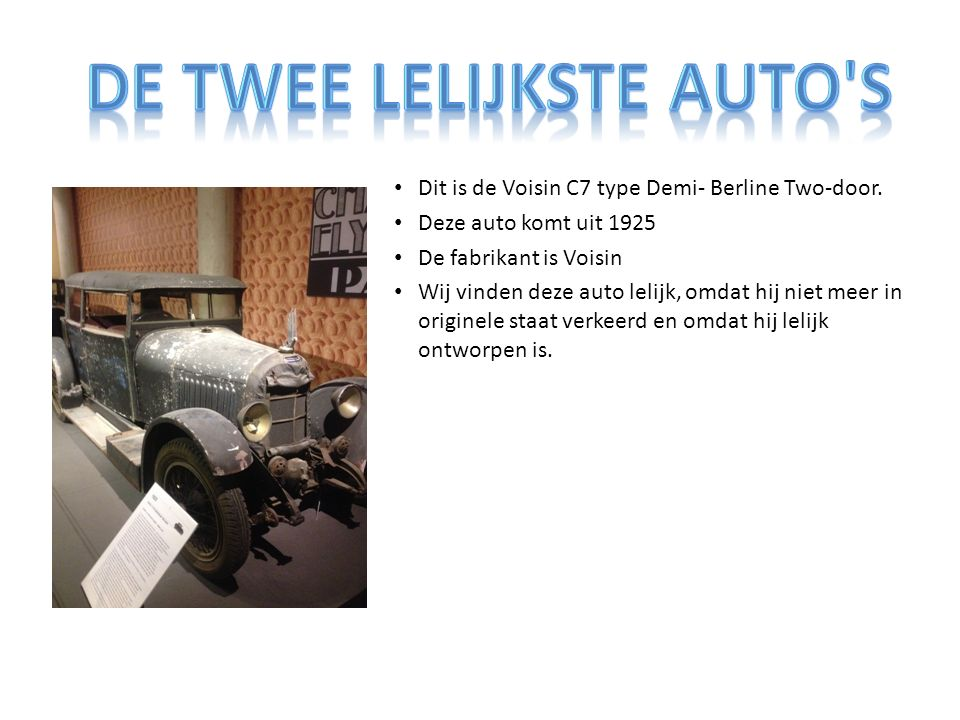 Dit is de Voisin C7 type Demi- Berline Two-door.
