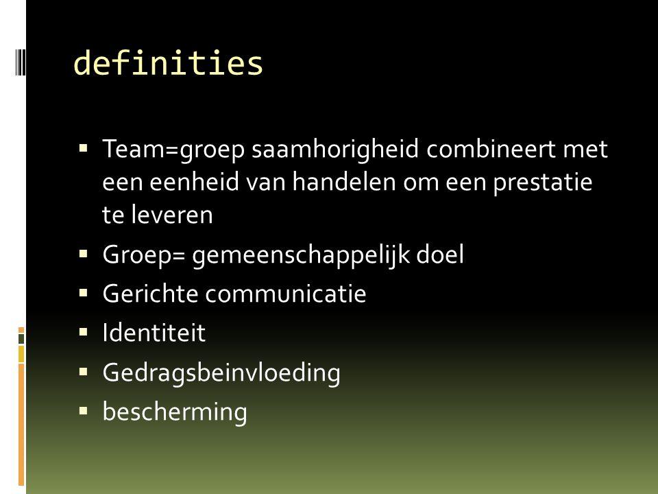 definities  Team=groep saamhorigheid combineert met een eenheid van handelen om een prestatie te leveren  Groep= gemeenschappelijk doel  Gerichte c