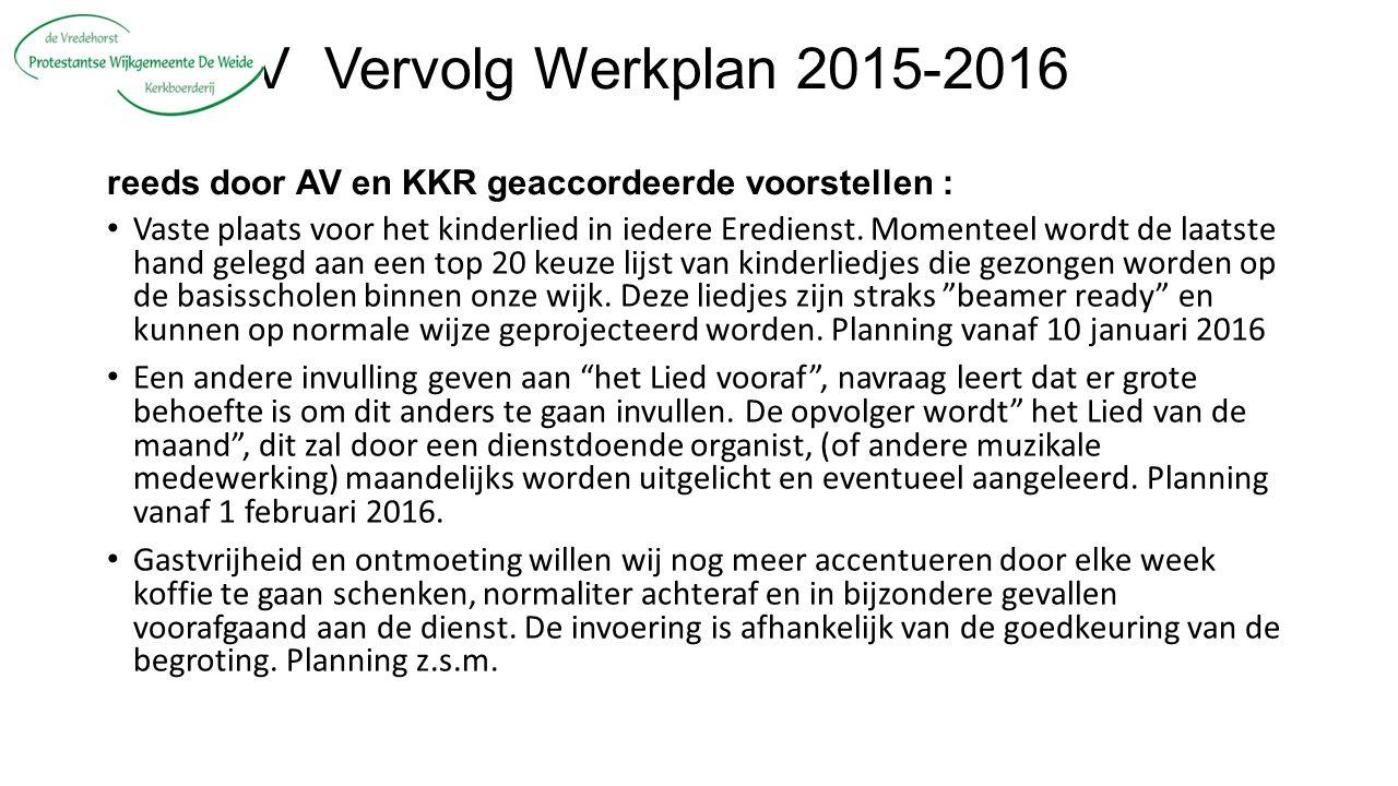 V Vervolg Werkplan 2015-2016 reeds door AV en KKR geaccordeerde voorstellen : Vaste plaats voor het kinderlied in iedere Eredienst.