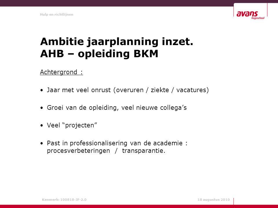 Hulp en richtlijnen Kenmerk: 100818-JF-2.0 18 augustus 2010 Ambitie jaarplanning inzet.