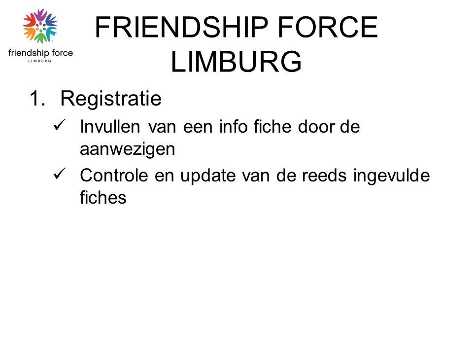 FRIENDSHIP FORCE LIMBURG 1.Registratie Invullen van een info fiche door de aanwezigen Controle en update van de reeds ingevulde fiches