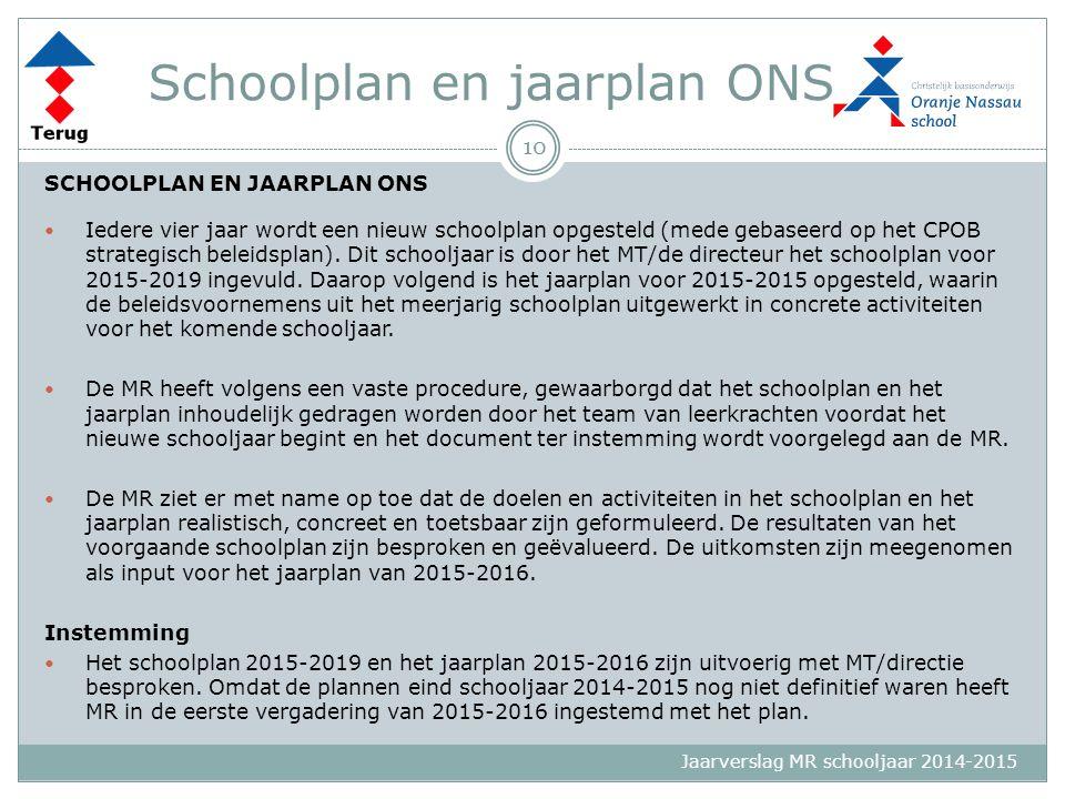 Jaarverslag MR schooljaar 2014-2015 Schoolplan en jaarplan ONS SCHOOLPLAN EN JAARPLAN ONS Iedere vier jaar wordt een nieuw schoolplan opgesteld (mede