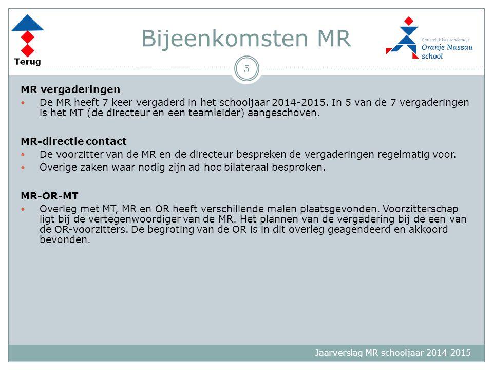 Jaarverslag MR schooljaar 2014-2015 Bijeenkomsten MR MR vergaderingen De MR heeft 7 keer vergaderd in het schooljaar 2014-2015. In 5 van de 7 vergader