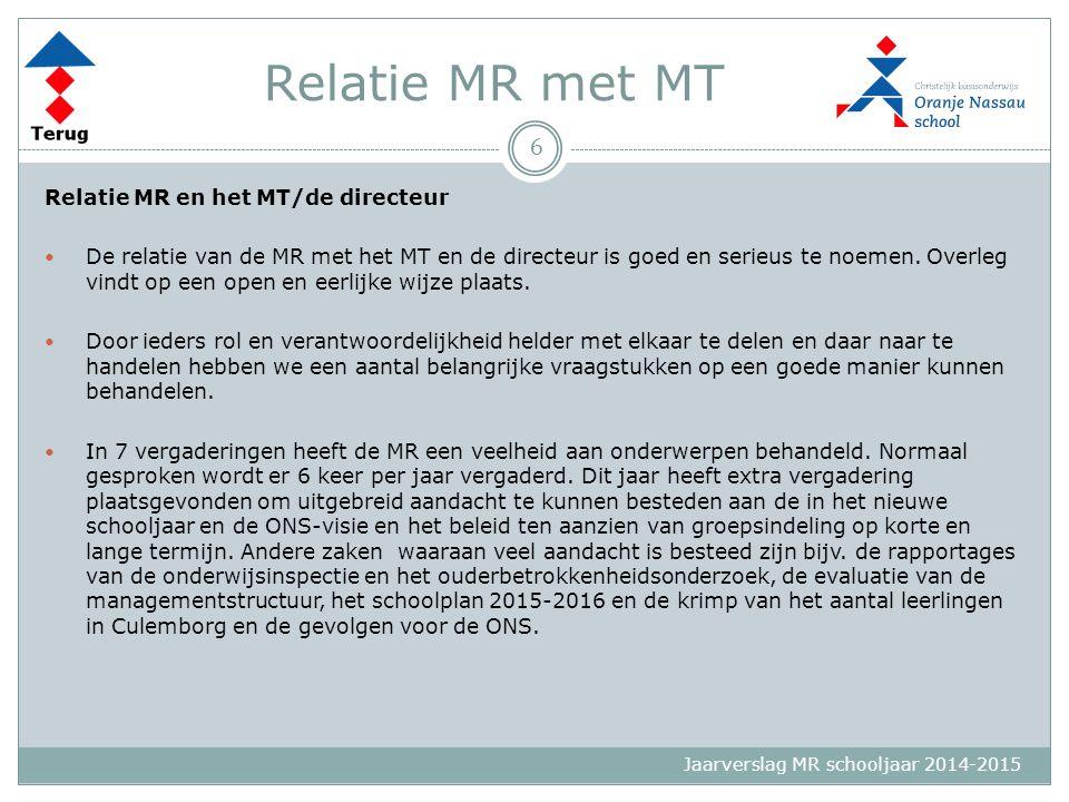 Jaarverslag MR schooljaar 2014-2015 Relatie MR met MT Relatie MR en het MT/de directeur De relatie van de MR met het MT en de directeur is goed en ser