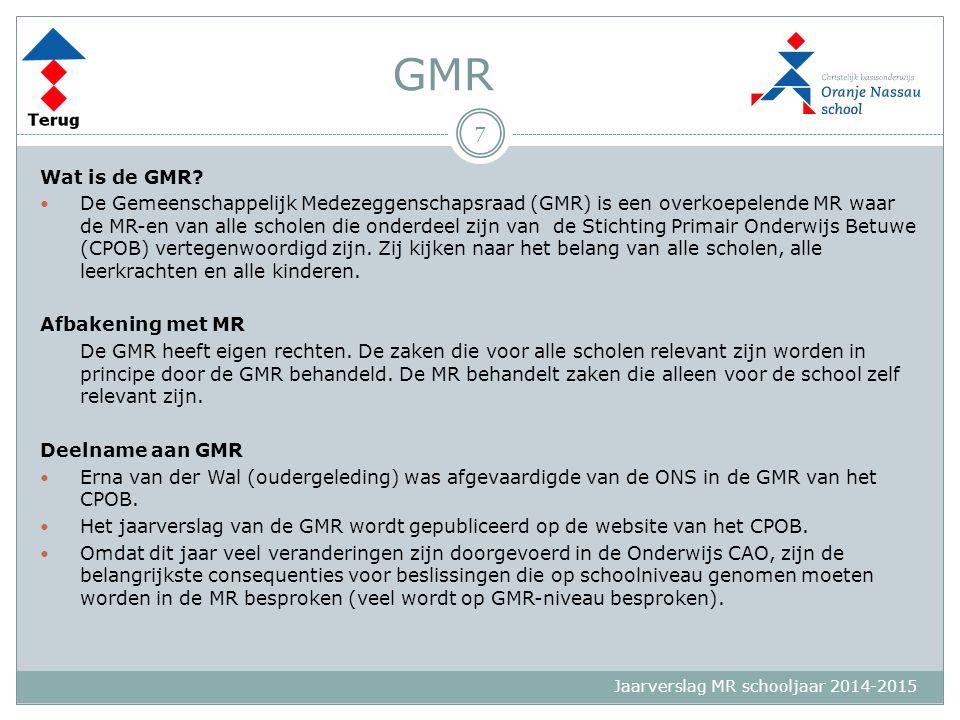 Jaarverslag MR schooljaar 2014-2015 GMR Wat is de GMR? De Gemeenschappelijk Medezeggenschapsraad (GMR) is een overkoepelende MR waar de MR-en van alle