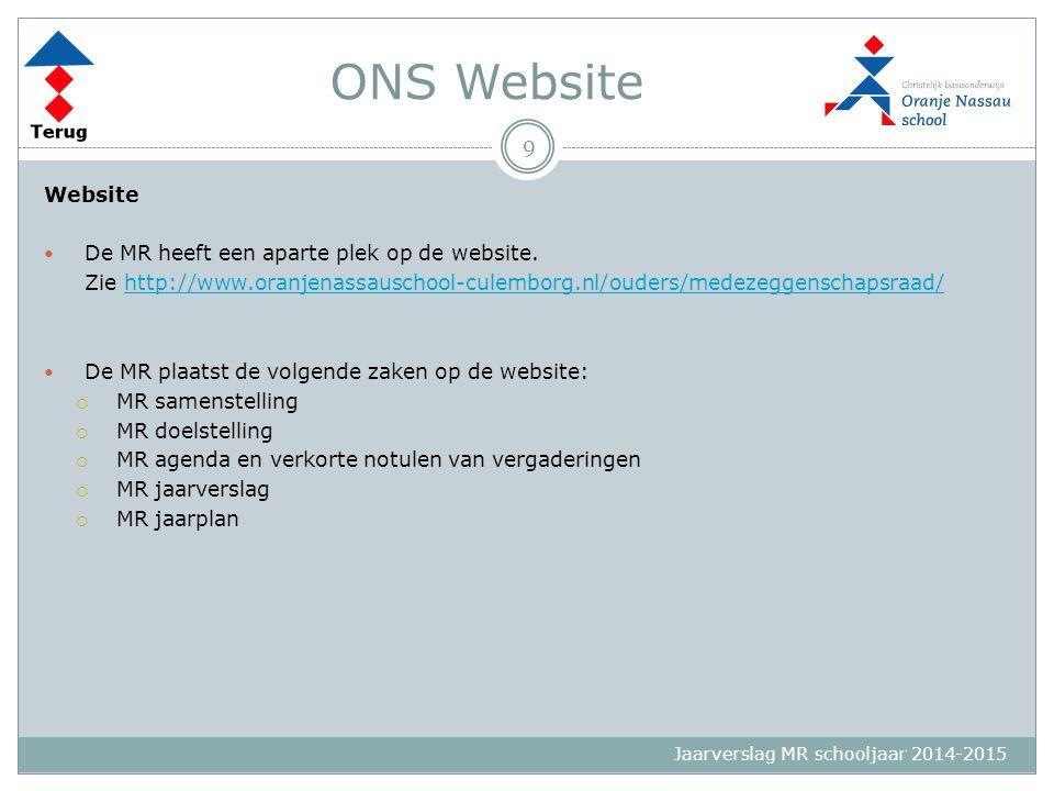 Jaarverslag MR schooljaar 2014-2015 ONS Website Website De MR heeft een aparte plek op de website. Zie http://www.oranjenassauschool-culemborg.nl/oude