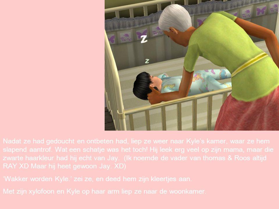 Nadat ze had gedoucht en ontbeten had, liep ze weer naar Kyle's kamer, waar ze hem slapend aantrof.