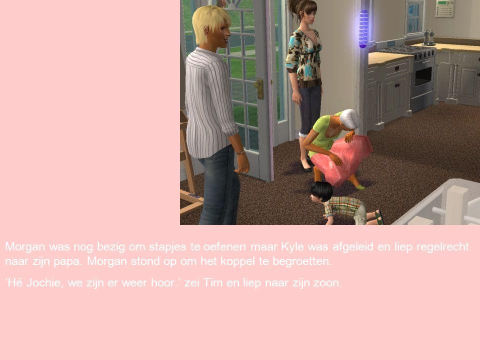 Morgan was nog bezig om stapjes te oefenen maar Kyle was afgeleid en liep regelrecht naar zijn papa.