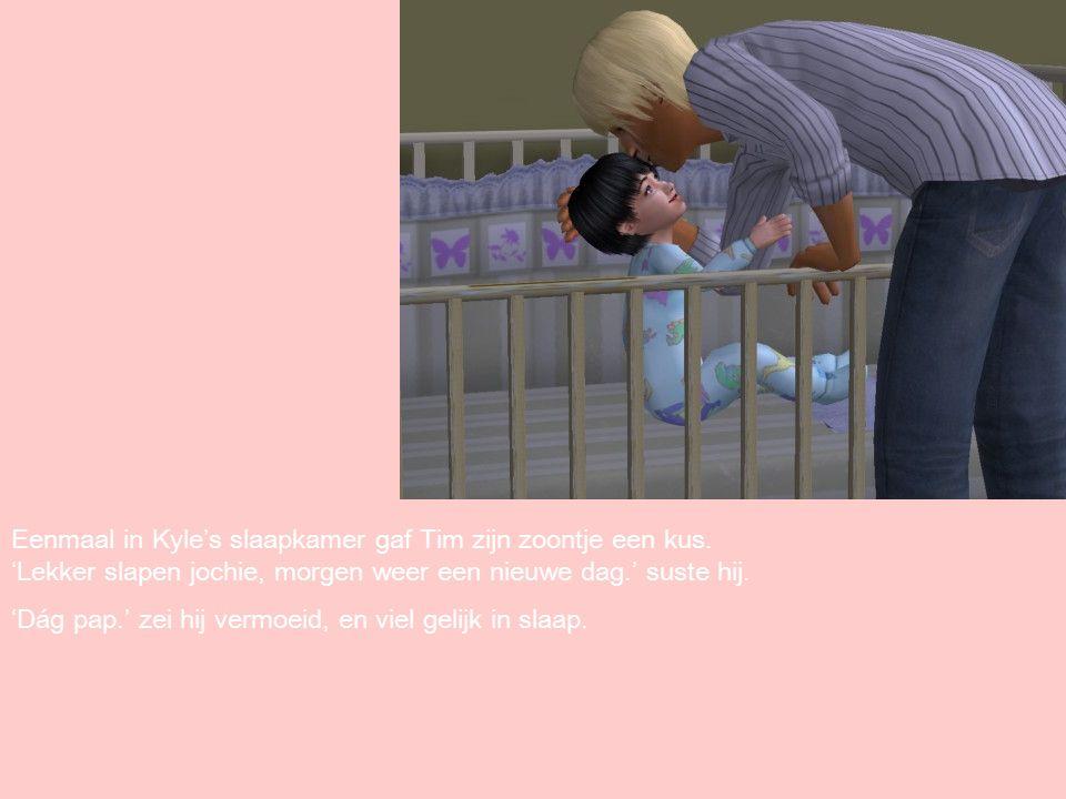 Eenmaal in Kyle's slaapkamer gaf Tim zijn zoontje een kus.