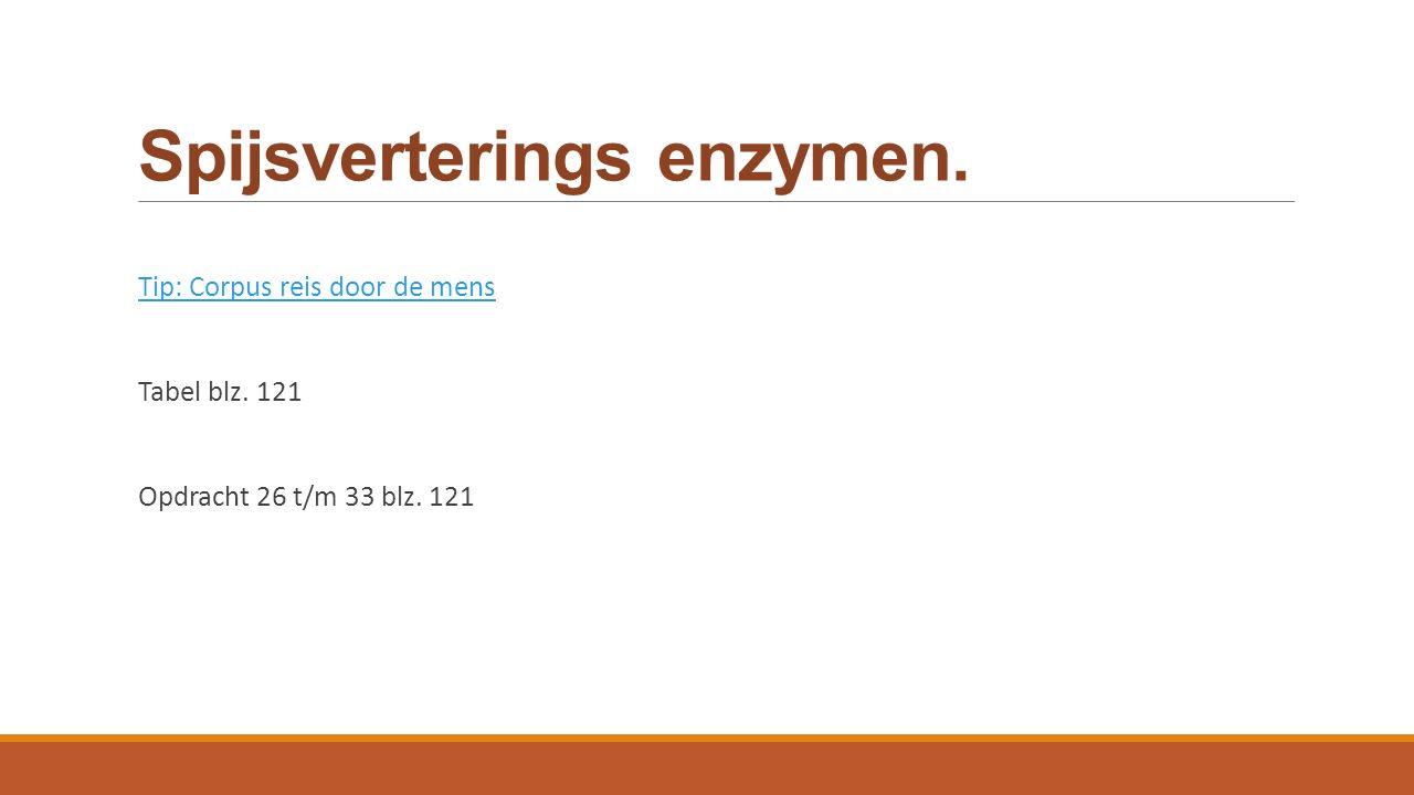 Spijsverterings enzymen. Tip: Corpus reis door de mens Tabel blz. 121 Opdracht 26 t/m 33 blz. 121