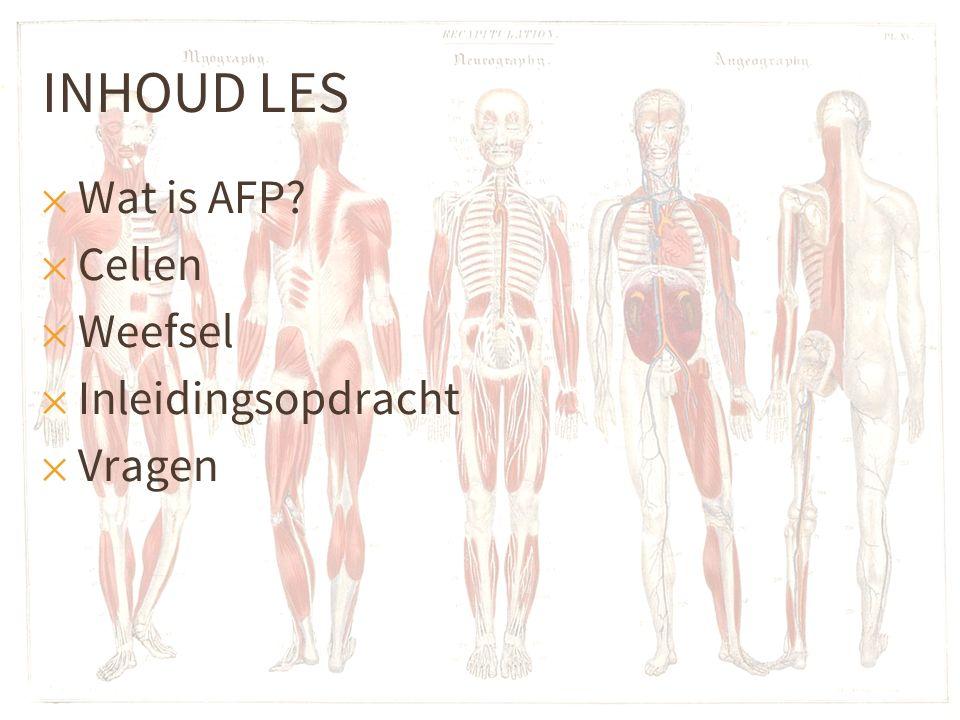 INHOUD LES ✕ Wat is AFP? ✕ Cellen ✕ Weefsel ✕ Inleidingsopdracht ✕ Vragen