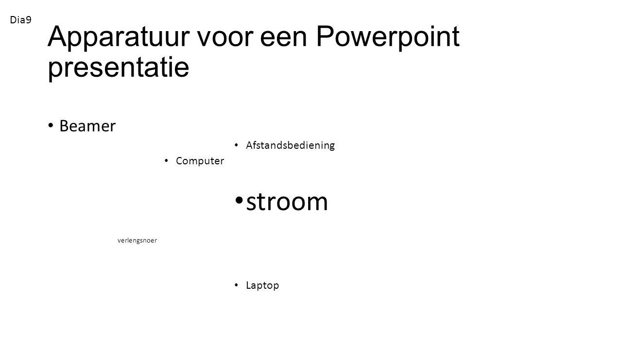 Apparatuur voor een Powerpoint presentatie Beamer Afstandsbediening Computer stroom verlengsnoer Laptop Dia9