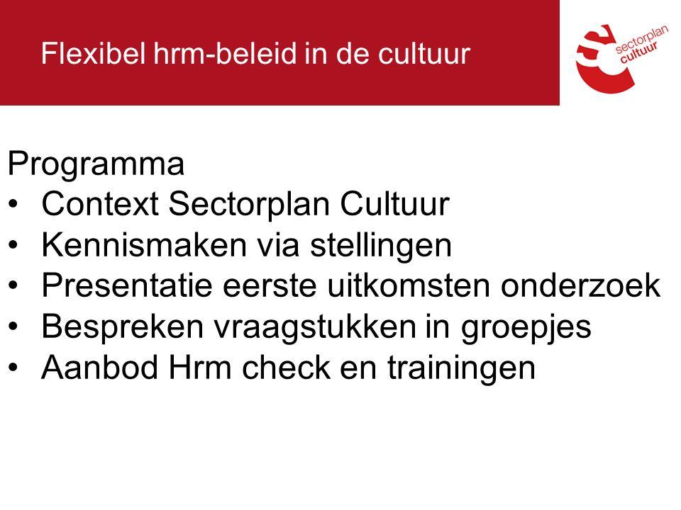 Flexibel hrm-beleid in de cultuur Programma Context Sectorplan Cultuur Kennismaken via stellingen Presentatie eerste uitkomsten onderzoek Bespreken vraagstukken in groepjes Aanbod Hrm check en trainingen