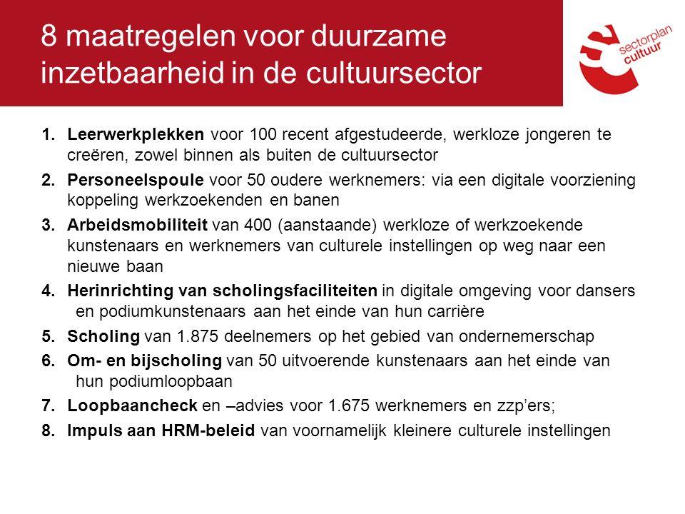 8 maatregelen voor duurzame inzetbaarheid in de cultuursector 1.Leerwerkplekken voor 100 recent afgestudeerde, werkloze jongeren te creëren, zowel binnen als buiten de cultuursector 2.Personeelspoule voor 50 oudere werknemers: via een digitale voorziening koppeling werkzoekenden en banen 3.Arbeidsmobiliteit van 400 (aanstaande) werkloze of werkzoekende kunstenaars en werknemers van culturele instellingen op weg naar een nieuwe baan 4.Herinrichting van scholingsfaciliteiten in digitale omgeving voor dansers en podiumkunstenaars aan het einde van hun carrière 5.Scholing van 1.875 deelnemers op het gebied van ondernemerschap 6.Om- en bijscholing van 50 uitvoerende kunstenaars aan het einde van hun podiumloopbaan 7.Loopbaancheck en –advies voor 1.675 werknemers en zzp'ers; 8.Impuls aan HRM-beleid van voornamelijk kleinere culturele instellingen