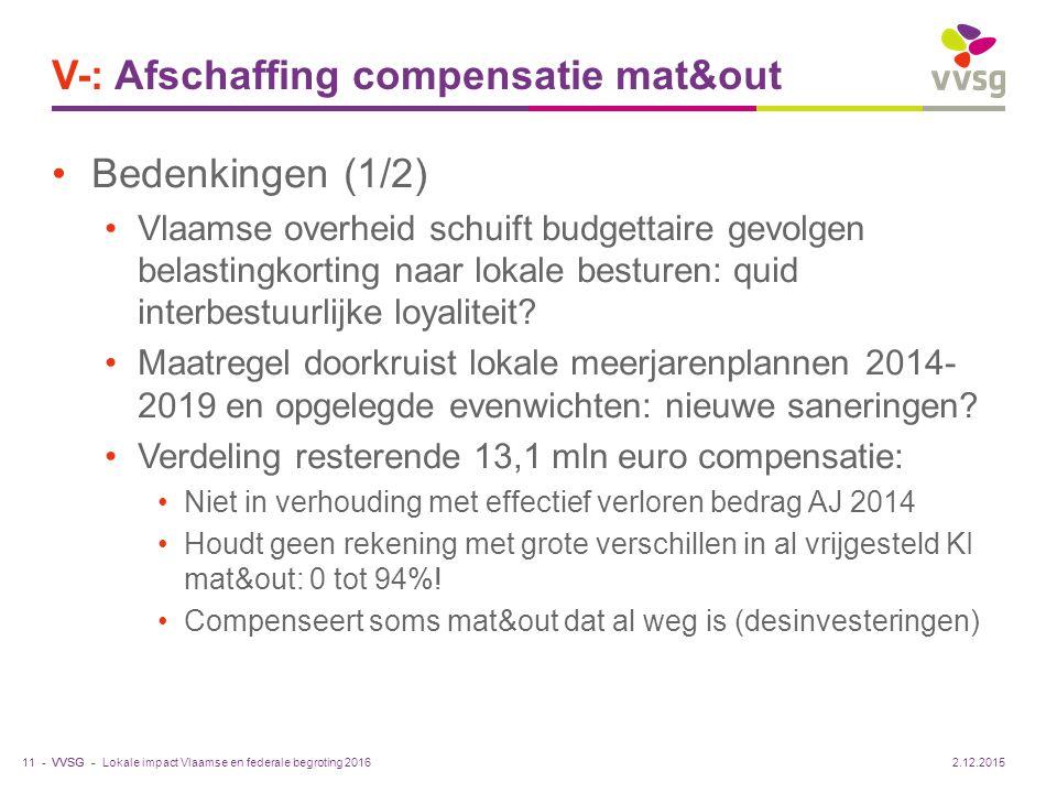 VVSG - V-: Afschaffing compensatie mat&out Bedenkingen (1/2) Vlaamse overheid schuift budgettaire gevolgen belastingkorting naar lokale besturen: quid