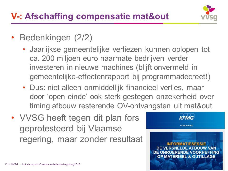 VVSG - V-: Afschaffing compensatie mat&out Bedenkingen (2/2) Jaarlijkse gemeentelijke verliezen kunnen oplopen tot ca. 200 miljoen euro naarmate bedri