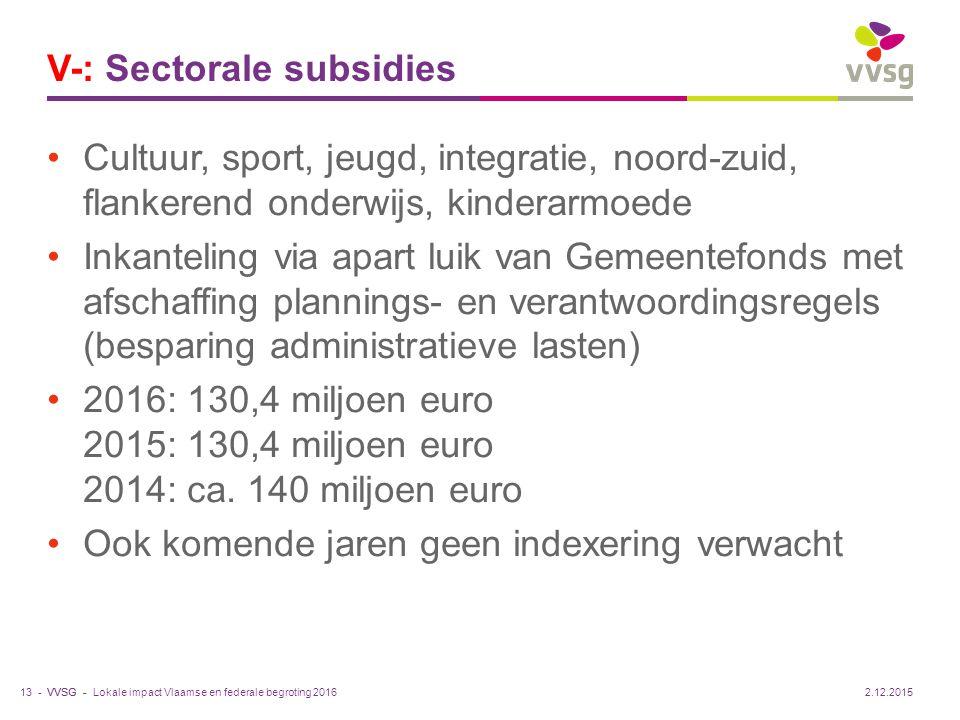 VVSG - V-: Sectorale subsidies Cultuur, sport, jeugd, integratie, noord-zuid, flankerend onderwijs, kinderarmoede Inkanteling via apart luik van Gemee