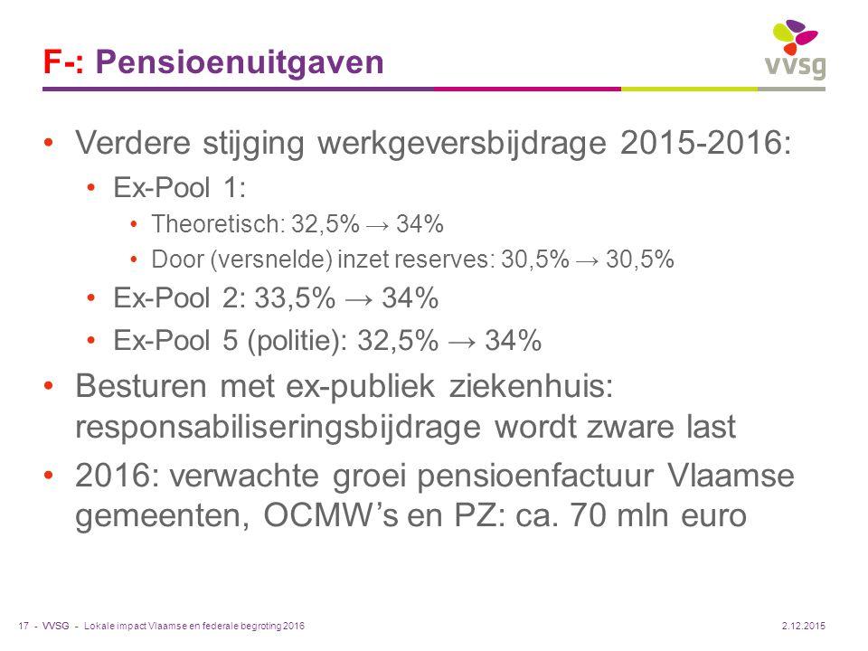 VVSG - F-: Pensioenuitgaven Verdere stijging werkgeversbijdrage 2015-2016: Ex-Pool 1: Theoretisch: 32,5% → 34% Door (versnelde) inzet reserves: 30,5%