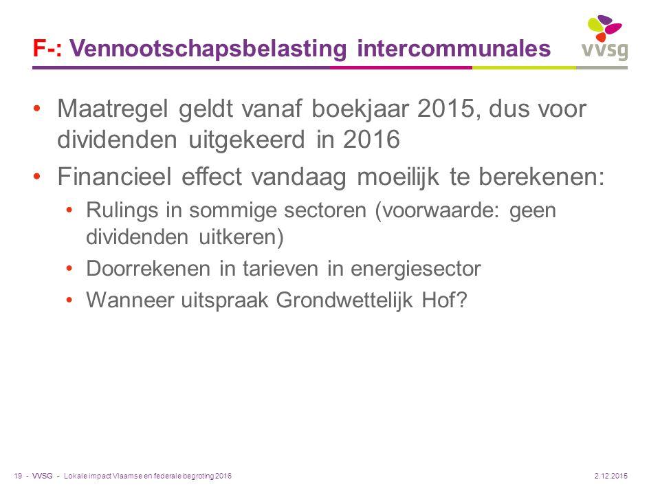 VVSG - F-: Vennootschapsbelasting intercommunales Maatregel geldt vanaf boekjaar 2015, dus voor dividenden uitgekeerd in 2016 Financieel effect vandaa