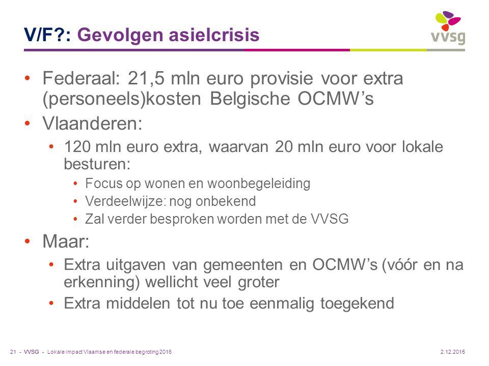 VVSG - V/F?: Gevolgen asielcrisis Federaal: 21,5 mln euro provisie voor extra (personeels)kosten Belgische OCMW's Vlaanderen: 120 mln euro extra, waar
