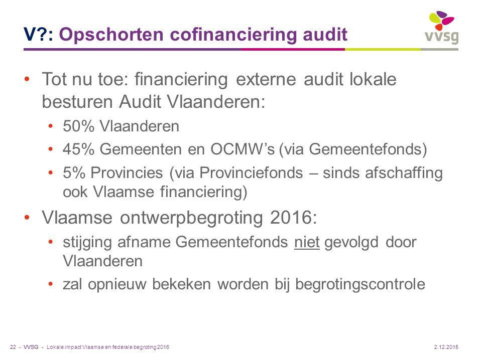 VVSG - V?: Opschorten cofinanciering audit Tot nu toe: financiering externe audit lokale besturen Audit Vlaanderen: 50% Vlaanderen 45% Gemeenten en OC