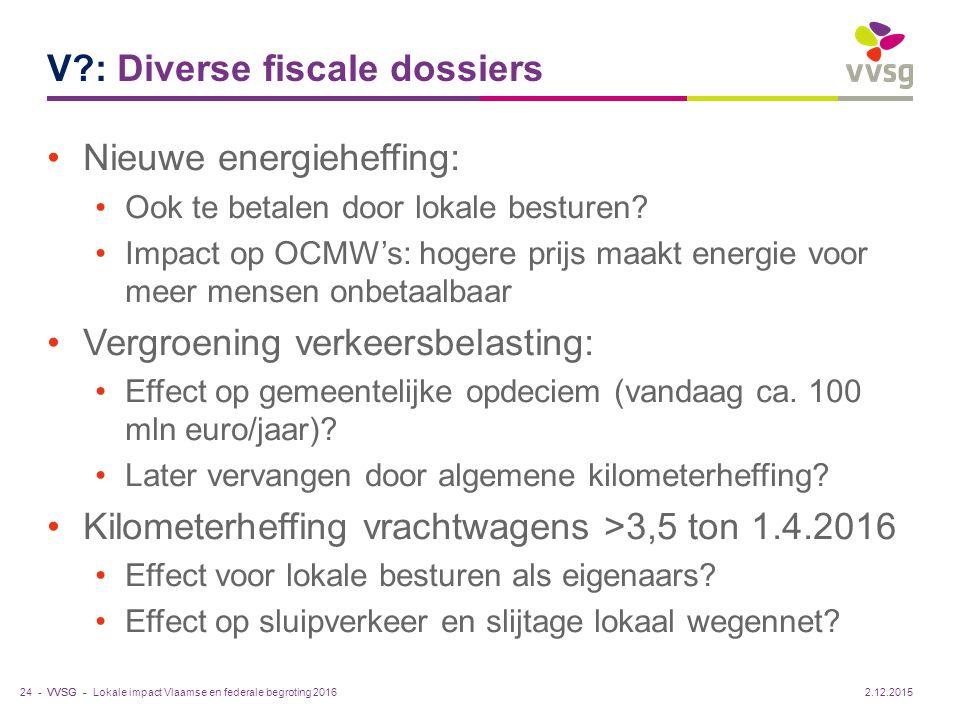 VVSG - V?: Diverse fiscale dossiers Nieuwe energieheffing: Ook te betalen door lokale besturen? Impact op OCMW's: hogere prijs maakt energie voor meer