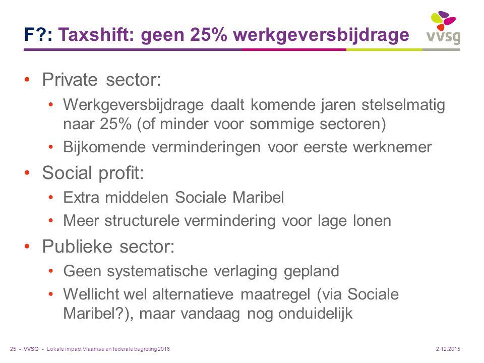 VVSG - F?: Taxshift: geen 25% werkgeversbijdrage Private sector: Werkgeversbijdrage daalt komende jaren stelselmatig naar 25% (of minder voor sommige