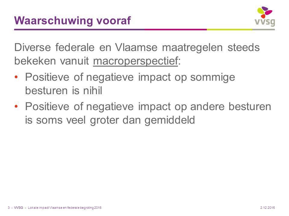 VVSG - Waarschuwing vooraf Diverse federale en Vlaamse maatregelen steeds bekeken vanuit macroperspectief: Positieve of negatieve impact op sommige be
