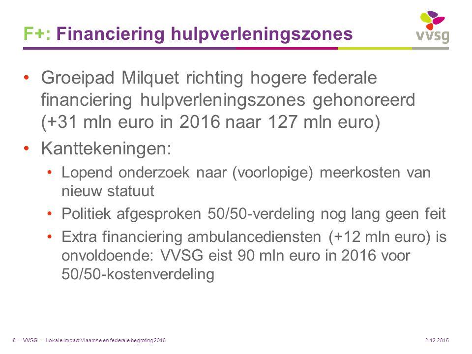 VVSG - F+: Financiering hulpverleningszones Groeipad Milquet richting hogere federale financiering hulpverleningszones gehonoreerd (+31 mln euro in 20