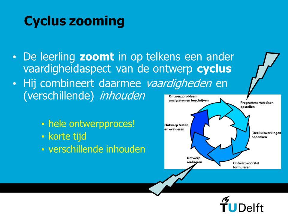 Cyclus zooming De leerling zoomt in op telkens een ander vaardigheidaspect van de ontwerp cyclus Hij combineert daarmee vaardigheden en (verschillende