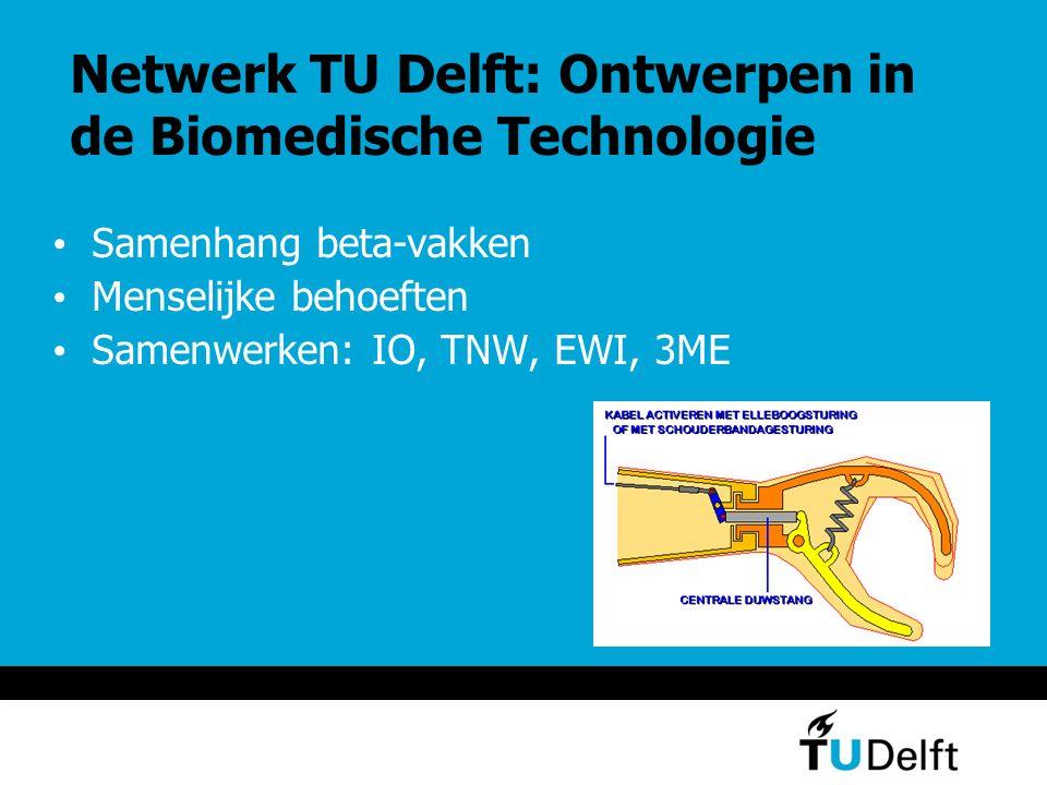 Netwerk TU Delft: Ontwerpen in de Biomedische Technologie Samenhang beta-vakken Menselijke behoeften Samenwerken: IO, TNW, EWI, 3ME