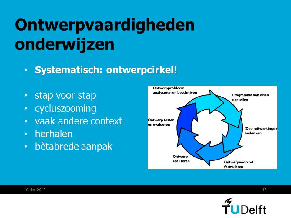 Ontwerpvaardigheden onderwijzen Systematisch: ontwerpcirkel! stap voor stap cycluszooming vaak andere context herhalen bètabrede aanpak 10 dec 201019