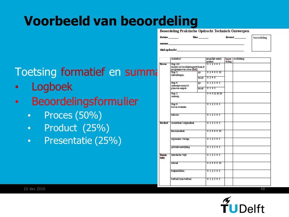 Voorbeeld van beoordeling Toetsing formatief en summatief Logboek Beoordelingsformulier Proces (50%) Product (25%) Presentatie (25%) 10 dec 201048