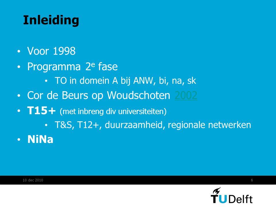 Inleiding 10 dec 20106 Voor 1998 Programma 2 e fase TO in domein A bij ANW, bi, na, sk Cor de Beurs op Woudschoten 20022002 T15+ (met inbreng div univ