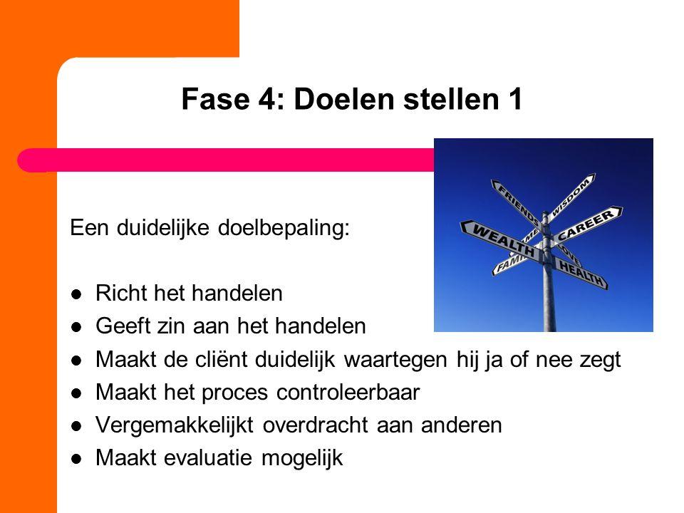 Fase 4: Doelen stellen 1 Een duidelijke doelbepaling: Richt het handelen Geeft zin aan het handelen Maakt de cliënt duidelijk waartegen hij ja of nee
