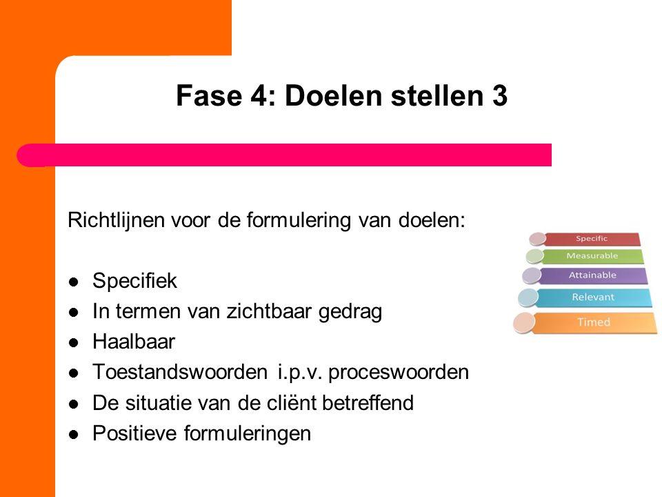 Fase 4: Doelen stellen 3 Richtlijnen voor de formulering van doelen: Specifiek In termen van zichtbaar gedrag Haalbaar Toestandswoorden i.p.v. procesw