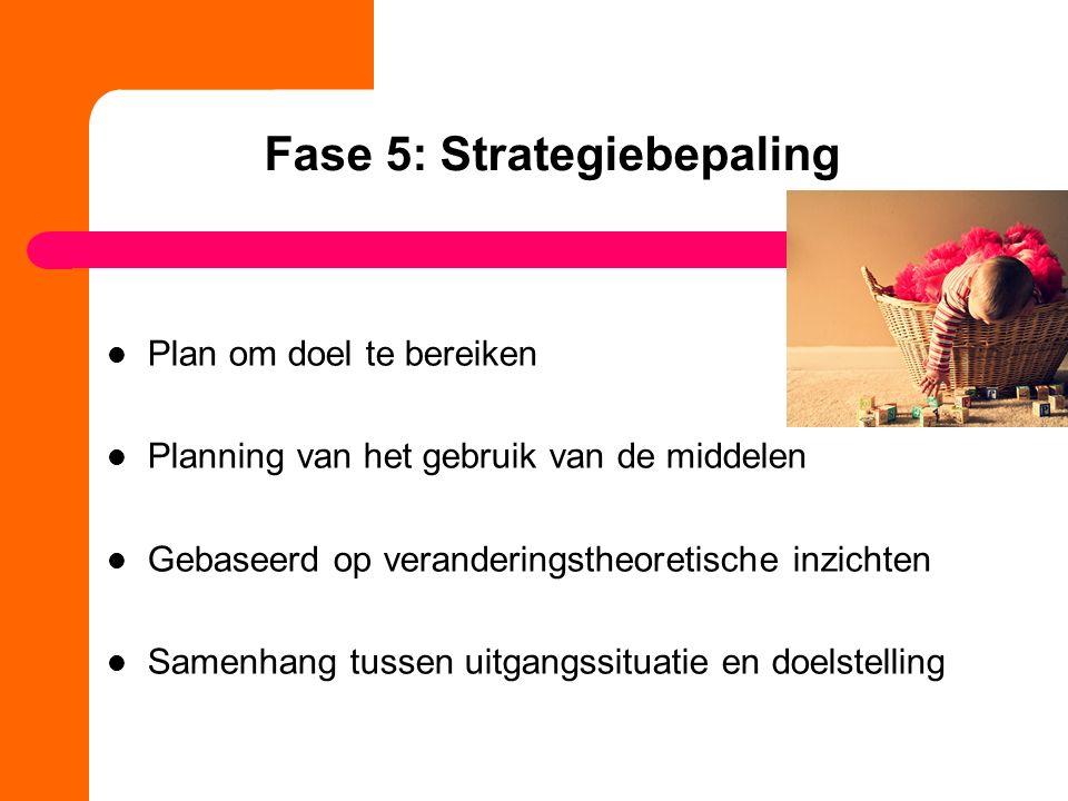 Fase 5: Strategiebepaling Plan om doel te bereiken Planning van het gebruik van de middelen Gebaseerd op veranderingstheoretische inzichten Samenhang
