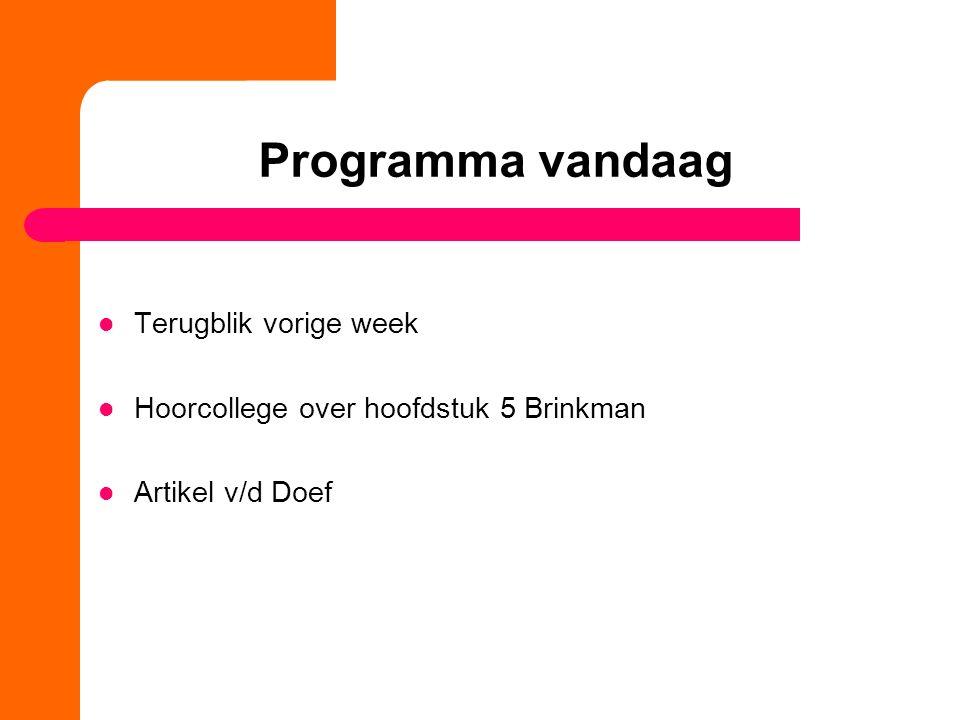Programma vandaag Terugblik vorige week Hoorcollege over hoofdstuk 5 Brinkman Artikel v/d Doef