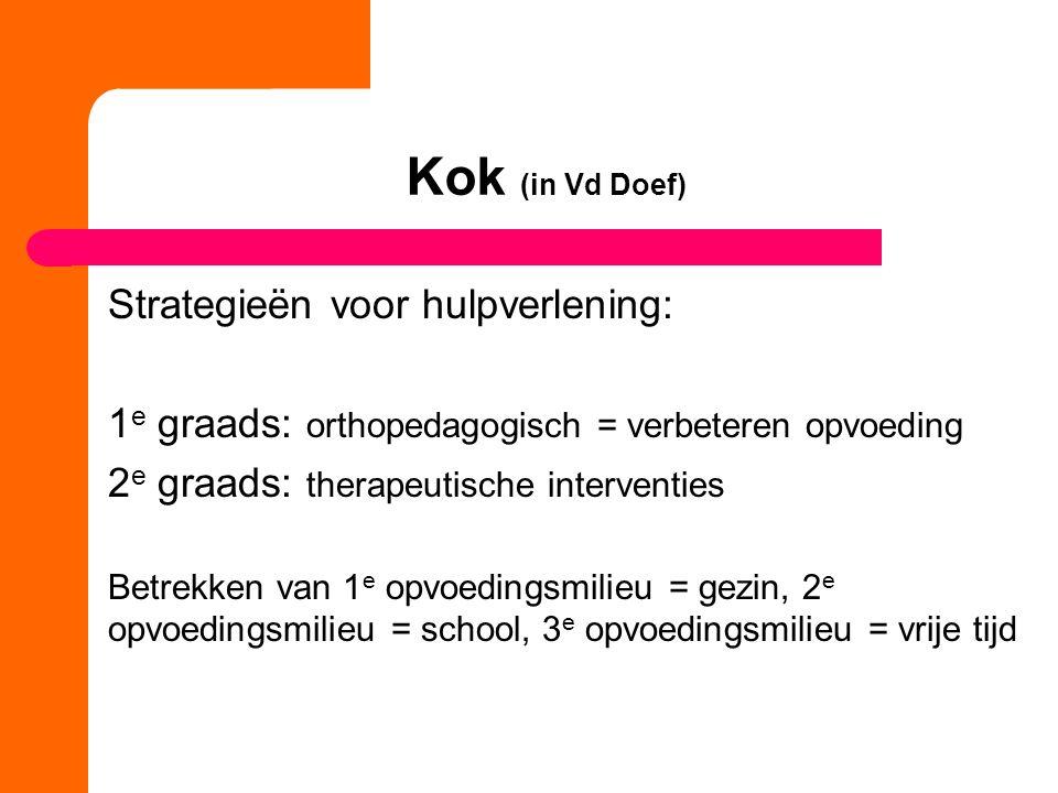 Kok (in Vd Doef) Strategieën voor hulpverlening: 1 e graads: orthopedagogisch = verbeteren opvoeding 2 e graads: therapeutische interventies Betrekken