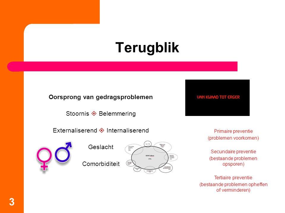 3 Terugblik Oorsprong van gedragsproblemen Stoornis  Belemmering Externaliserend  Internaliserend Geslacht Comorbiditeit Primaire preventie (problem