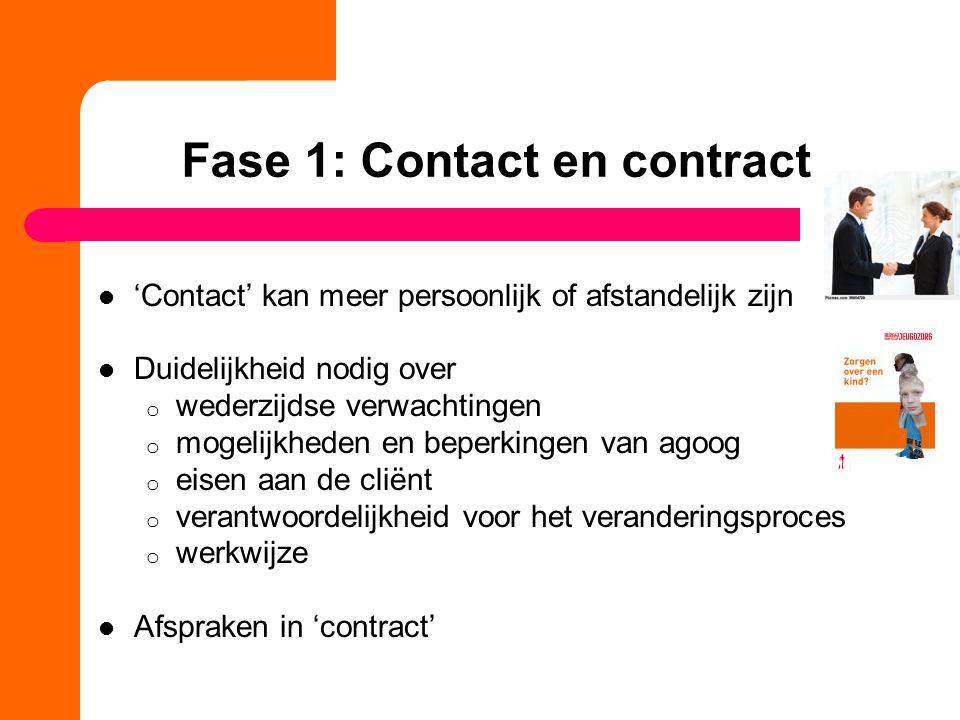 Fase 1: Contact en contract 'Contact' kan meer persoonlijk of afstandelijk zijn Duidelijkheid nodig over o wederzijdse verwachtingen o mogelijkheden e