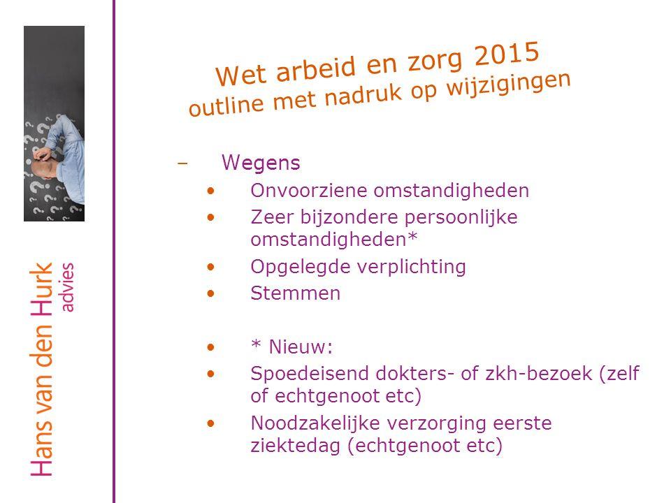 Wet arbeid en zorg 2015 outline met nadruk op wijzigingen –Wegens Onvoorziene omstandigheden Zeer bijzondere persoonlijke omstandigheden* Opgelegde ve