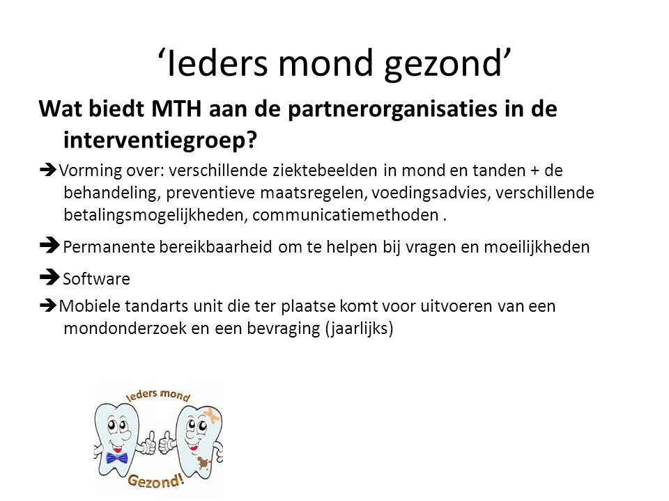 Wat biedt MTH aan de partnerorganisaties in de interventiegroep?  Vorming over: verschillende ziektebeelden in mond en tanden + de behandeling, preve