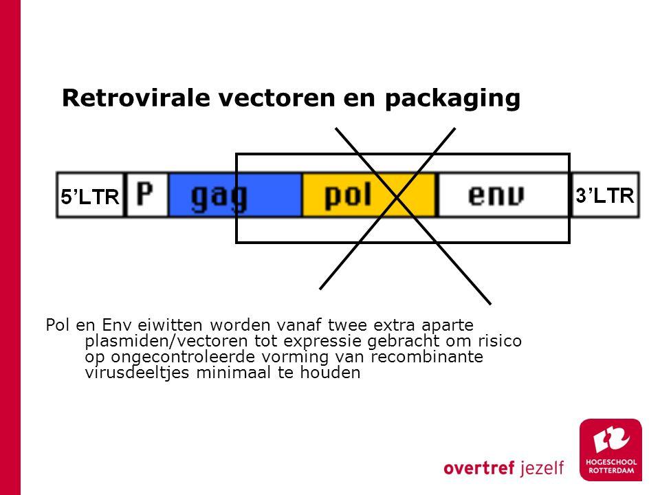 Retrovirale vectoren en packaging Pol en Env eiwitten worden vanaf twee extra aparte plasmiden/vectoren tot expressie gebracht om risico op ongecontro