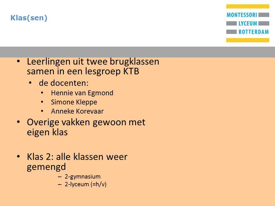 T Klas(sen) Leerlingen uit twee brugklassen samen in een lesgroep KTB de docenten: Hennie van Egmond Simone Kleppe Anneke Korevaar Overige vakken gewoon met eigen klas Klas 2: alle klassen weer gemengd – 2-gymnasium – 2-lyceum (=h/v)