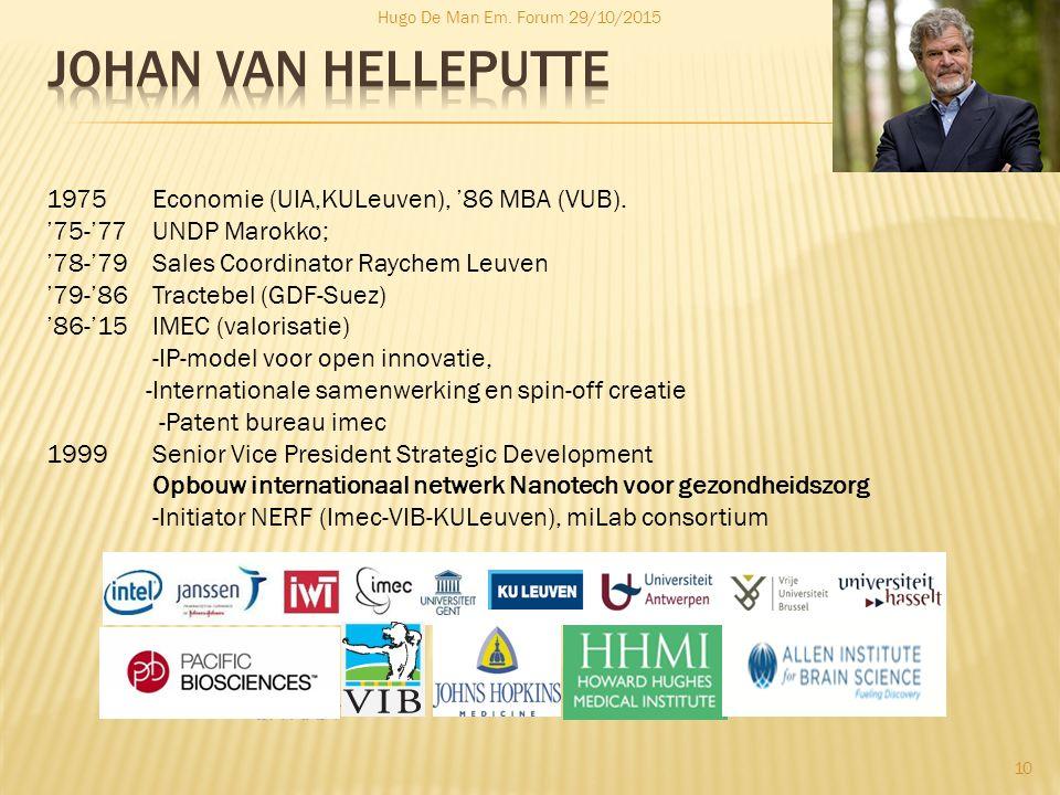Hugo De Man Em. Forum 29/10/2015 10 1975 Economie (UIA,KULeuven), '86 MBA (VUB). '75-'77 UNDP Marokko; '78-'79 Sales Coordinator Raychem Leuven '79-'8