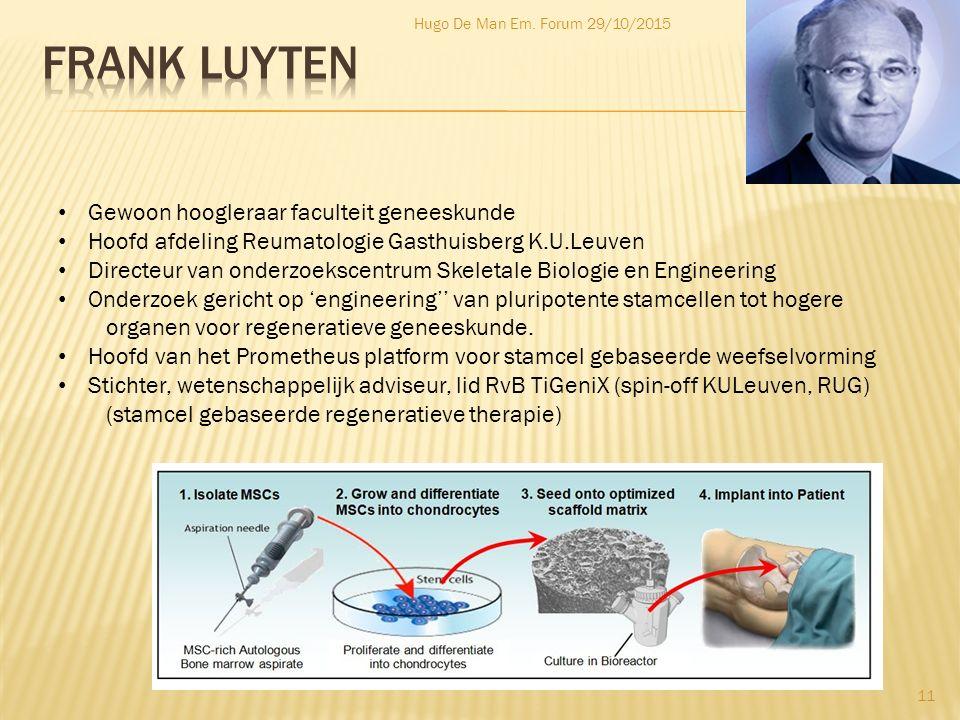 Hugo De Man Em. Forum 29/10/2015 11 Gewoon hoogleraar faculteit geneeskunde Hoofd afdeling Reumatologie Gasthuisberg K.U.Leuven Directeur van onderzoe